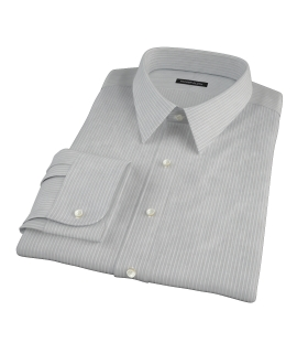 Charcoal End-on-End Stripe Fitted Dress Shirt