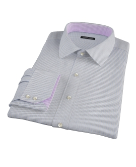 Blue Green Peached Tattersall Fitted Dress Shirt