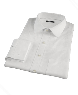 Albini Luxury White Lattice Grid Fitted Dress Shirt
