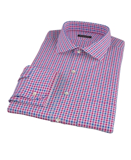 Red and Blue Small Gingham Custom Made Shirt