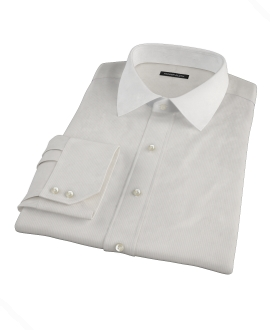 100s Khaki Stripe Fitted Dress Shirt