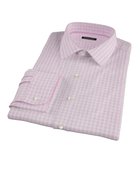 Medium Pink Gingham Fitted Dress Shirt