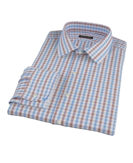Thomas Mason Blue & Brown Gingham Fitted Dress Shirt