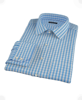 Classic Light Blue Gingham Fitted Shirt