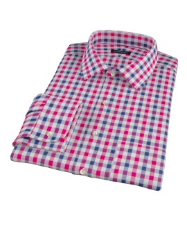 Red and Navy Multi Gingham Fitted Dress Shirt