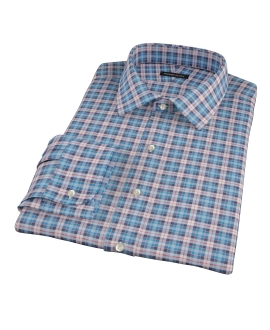 Vincent Blue Red and White Plaid Men's Dress Shirt