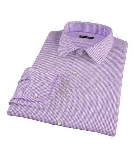 Canclini Lavender Mini Gingham Fitted Dress Shirt