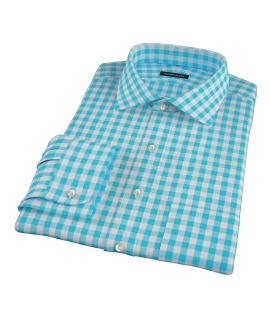 Aqua Large Gingham Custom Made Shirt