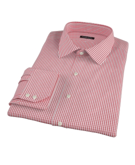 Canclini Red Medium Check Custom Dress Shirt