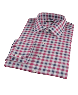 Vincent Red and Navy Plaid Dress Shirt