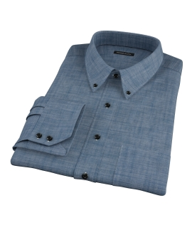 Blue Denim Fitted Dress Shirt