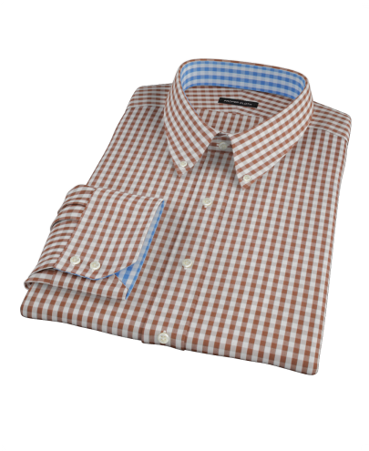 Clove Brown Gingham Custom Dress Shirt