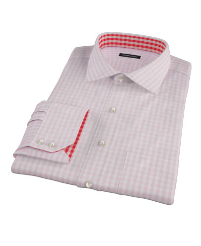Pale Pink Gingham Men's Dress Shirt