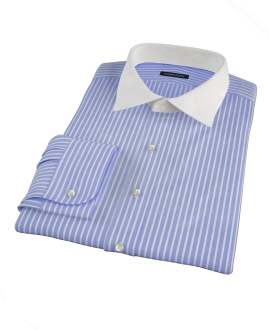 Canclini Blue Reverse Bengal Stripe Custom Dress Shirt