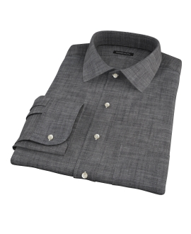 Black Denim Fitted Dress Shirt
