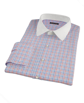 Thomas Mason Orange and Blue Check Custom Dress Shirt