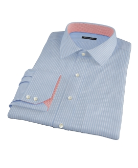 Thomas Mason Blue End on End Stripe Custom Made Shirt