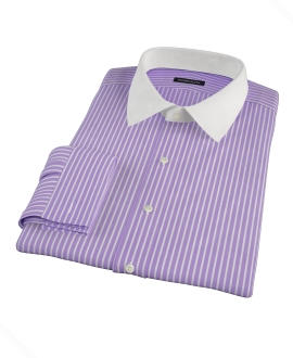 Canclini Purple Reverse Bengal Stripe Men's Dress Shirt
