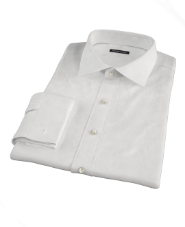 White Wrinkle Resistant Cavalry Twill Fitted Dress Shirt