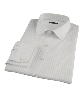 Blue and Orange Stripe Men's Dress Shirt