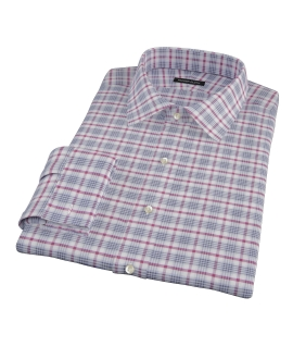Grey and Red Brushed Twill Plaid Tailor Made Shirt