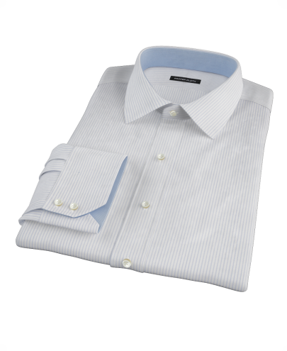 Dashed Blue Stripe Twill Men's Dress Shirt 