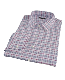 Grey and Red Brushed Twill Plaid Fitted Shirt