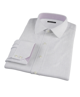 Blue and Lavender Tattersall Twill Fitted Dress Shirt