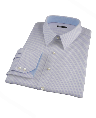 Albini Purple Stripe Twill Men's Dress Shirt