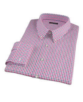 Red and Navy Gingham Men's Dress Shirt