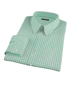 Medium Light Green Gingham Fitted Shirt