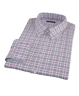 Grey and Red Brushed Twill Plaid Dress Shirt