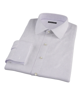 Albini Lavender Tatersall Fitted Dress Shirt