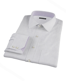 Blue and Lavender Tattersall Twill Fitted Shirt