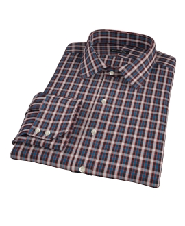 Mandarin Ocean Plaid Fitted Shirt