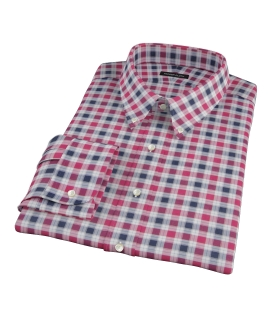 Vincent Red and Navy Plaid Fitted Dress Shirt