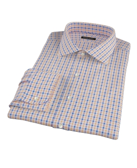 Orange and Blue Gingham Men's Dress Shirt