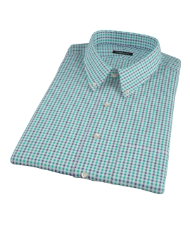 Green and Navy Gingham Short Sleeve Shirt