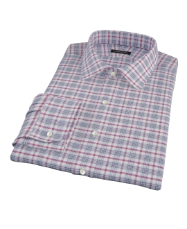 Grey and Red Brushed Twill Plaid Fitted Dress Shirt