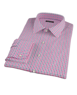 Red and Navy Gingham Fitted Dress Shirt