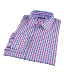 Pink and Blue Gingham Fitted Dress Shirt