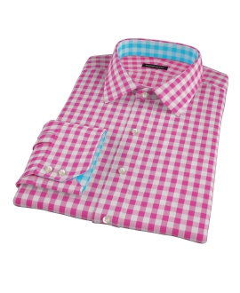 Pink Large Gingham Fitted Shirt