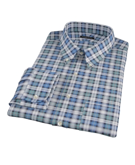Vincent Green and Blue Plaid Dress Shirt