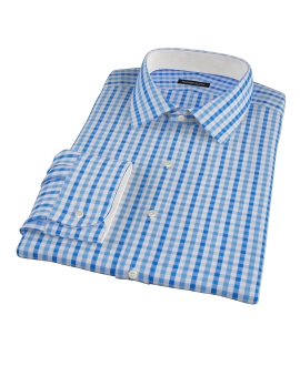 Thomas Mason Light Blue Gingham Men's Dress Shirt