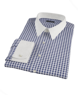 Canclini 120s Navy Gingham Men's Dress Shirt