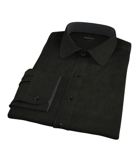 Black Broadcloth Fitted Dress Shirt