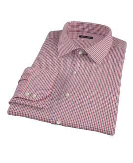 Canclini Red and Navy Mini Gingham Fitted Dress Shirt