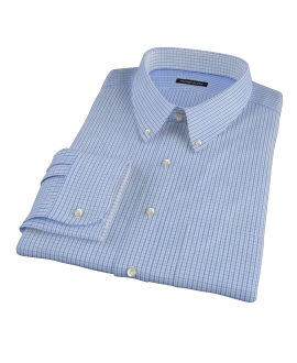 Light Blue and Blue Regis Check Men's Dress Shirt