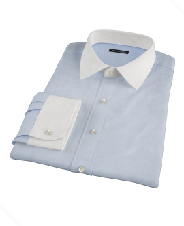 Light Blue 100s Twill Fitted Dress Shirt