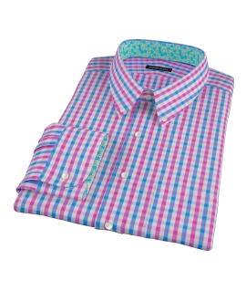 Pink and Blue Gingham Custom Made Shirt